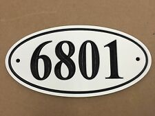 """Oval House Number Sign Address Plaque 1/2"""" King ColorCore White/Black 11x5.5"""""""