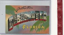 1961 vintage Linen Large Letter Greetings from Clearwater Fl. Free Shipping