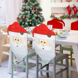 4x Stuhlhussen Weihnachten Nikolaus Weihnachtsmütze Stuhlüberzug Bezug Stuhlmütz