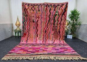 "Moroccan Boujaad Handmade Rug 6'4""x9'4"" Berber Patchwork Pink Black Wool Carpet"