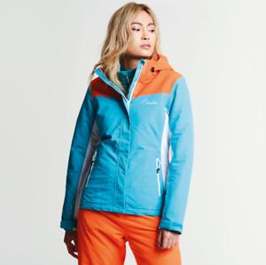 Dare2b Womens Prosperity AQUA BLUE/ ORANG Ski Jacket Ladies NEW SIZES 10 - 16 UK
