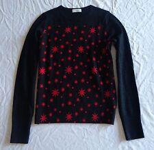 ~ DRIES VAN NOTEN BLACK & RED STAR PRINT PULLOVER SWEATER (SOOO FAB!)~ XS