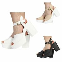 WOMENS LADIES CHUNKY BLOCK HIGH HEEL PLATFORM PEEPTOE BUCKLE SANDALS SHOES SIZE