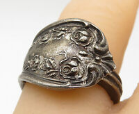 925 Sterling Silver - Vintage Ornate Detail Spoon Wrap Band Ring Sz 5.5 - R9869