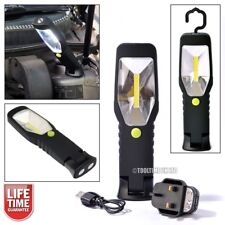 90 LUMEN 3W COB LED WORK LIGHT TORCH + HOOK + SWIVEL MAGNETIC BASE RECHARGEABLE
