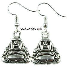 TFB - BUDDHA DANGLE EARRINGS Drop Vintage Faith Hook Quirky Belief Boho Gift Fun