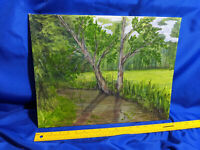 Original Oil Signed Oil Painting Art Nature Forest Scene Trees Woods Summer