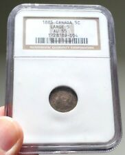 1885 Canada Silver 5 Cents Coin - NGC AU 55 Large 5 - Book Value $800 - AU-55