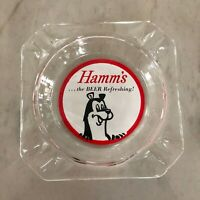 """Vintage Hamm's Glass Ashtray featuring the """"Refreshing Beer Bear"""""""
