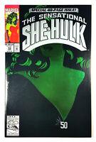 """THE SENSATIONAL SHE-HULK #50 """"Key"""" EMBOSSED GREEN FOIL COVER (1993) Marvel"""