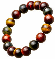NEW Natural 8mm African Tiger's Eye red blue Yellow Gem Beads Bracelet