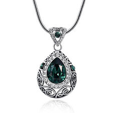 GREEN WATER DROP PENDANT WHITE GOLD PLATED NECKLACE 2017 FASHION CRYSTAL JEWELRY
