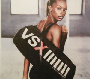VSX Victorias Secret SPORT Black Satin DUFFEL Gym Bag  Spellout TOTE NEW NWT $79