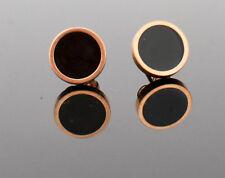 Rose Gold Black Stud Round Earrings Ear Studs Fashion Jewellery Womens Ladies UK