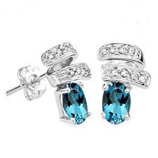 1.12 CARAT LONDON BLUE TOPAZ & DIAMOND 14KT SOLID WHITE GOLD EARRINGS STUD