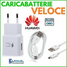CARICABATTERIE VELOCE FAST CHARGER per HUAWEI P10 LITE PRESA + CAVO MICRO USB