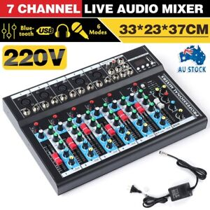 7 Channel Live Audio Mixer bluetooth Studio Stereo Music Sound Mixing DJ Console