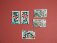 Set of 5 Stamps NIGERIA Flowers House Port no year