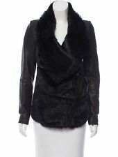 Helmut Lang Flux Fur & Leather Coat Jacket Black P XS $1895