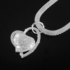 Fashion 925 Sterling Silver Double Heart Pendant Necklace Chain Women Jewelry