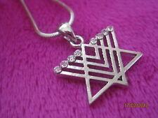 Silver Crystal Menorah Hanukkah David Star Kabbalah Judaica Israel Pendant Chain