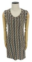Auth FENDI Vintage Zucca Knee Length One Piece Dress #42 Gray Brown Rank AB+