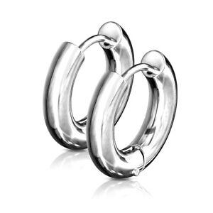 PAIR Stainless Steel Chunky Hoop Hinged Earrings 5mm Wide 20g Men or Women