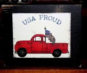 Red Truck USA Proud Flag Primitive Farmhouse Sign Block Shelf Sitter 3.5X4.5