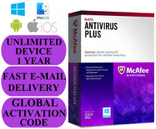 McAfee Antivirus UNLIMITED DEVICE 1 YEAR GLOBAL KEY 2019 EMAIL ONLY NO CD!!!