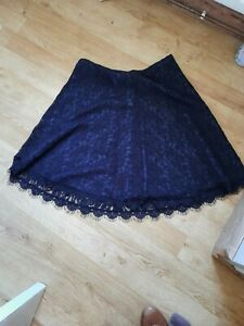 RRP £99 BNWT Pure Collection  cotton lace navy lined luxury pencil skirt  10