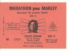 RARE / TICKET BILLET CONCERT - BOB MARLEY MARATHON LIVE A PARIS ( FRANCE ) 1990