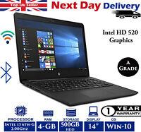 "HP 14-BP061SA 14"" Laptop Intel 6th-Gen i3 2Ghz 4GB RAM 500GB HDD Win 10 A Grade"