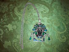 OLD Sterling Silver Enamel Pendant Necklace W/BIG ONIX BLACK FACE & CHAIN VG