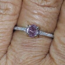 RARE 0.63ct NATURAL UNTREATED PINK PURPLE&WHITE DIAMOND 14k GOLD ENGAGEMENT RING
