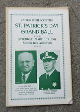 1954  St Patrick's  Day Grand Ball  Program Scottish Rite Temple San Francisco