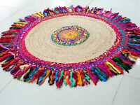 Handmade Indian Jut Rug Round 5 ft Door mat Jute and Cotton Floor Area Carpet