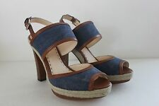 Coach Daria Shoe Size 10 M Blue Denim Platform Slingback Sandals Women's