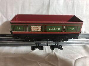 Vintage Tinplate Marx Trains O scale Rock Island Gondola Car #552 w/Black Bottom