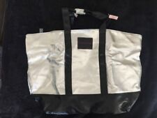 @@@ VICTORIAS SECRET LARGE SILVER/BLACK TOTE BAG @@@ NEW WITH TAGS @@@ MUST C @@