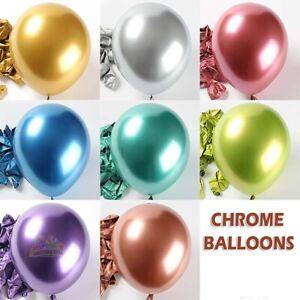 "Chrome Metallic Balloons 5"" 10"" 12"" 18"" inch Birthday Party Wedding Baby Shower"