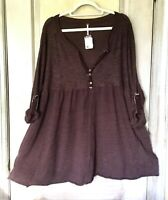 Free People tunic Dress Babydoll Mixed Knit Oversize Button Plum Brown S NEW