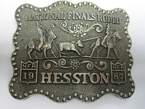 National Finals Rodeo Hesston 1987 NFR Adult Cowboy Buckle, Vintage