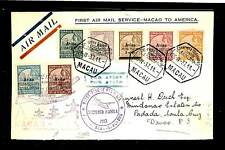 MACAU 1937 --SPEC FLIGHT CV TO USA -GOOD STAMPS VF