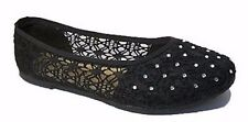 Ladies Womens Black Lace Diamonte Embellished Ballet Flat Shoes Sizes 7.5 BNWT