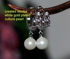 8mm culture pearl DIAM0NDS hoops