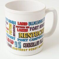 Vintage Kentucky Souvenir Coffee Mug Travel 80s Louisville Derby Cup All Over
