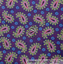 BonEful FABRIC FQ Cotton Quilt Purple Pink Flower Retro Paisley Dot Cowgirl RARE