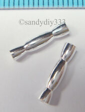 8x STERLING SILVER HOURGLASS TUBE BEAD SPACER 12.1mm N741