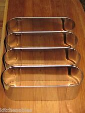 """ATECO STAINLESS STEEL ECLAIR LONG JOHN MULTI CUTTER EACH OVAL 5"""" X 1.5"""" X 1.75"""