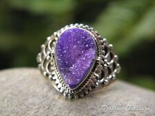 Purple Agate Druzy & 925 Solid Sterling Silver Ring (Size 7 1/4, O) #6769